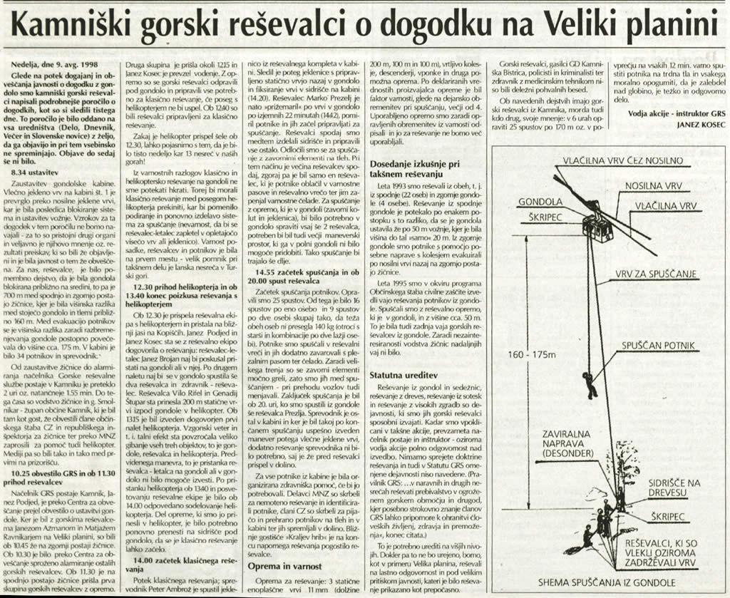 Slamnik, 10. septembra 1998. Vodja reševalne akcije, inštruktor GRS Janez Kosec, je že pred desetletjem opozarjal, da upravljalci žičnic ne kažejo zadostnega interesa za izvedbo vaj.