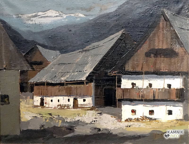 Peter Adamič - Vas, olje , 64X49 cm, 1967