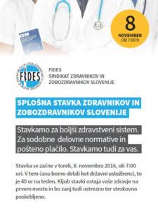 Stavkovni letak Sindikata zdravnikov in zobozdravnikov FIDES.